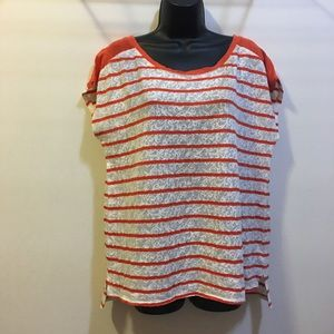 Lucky brand lace and orange stripe cap sleeve top